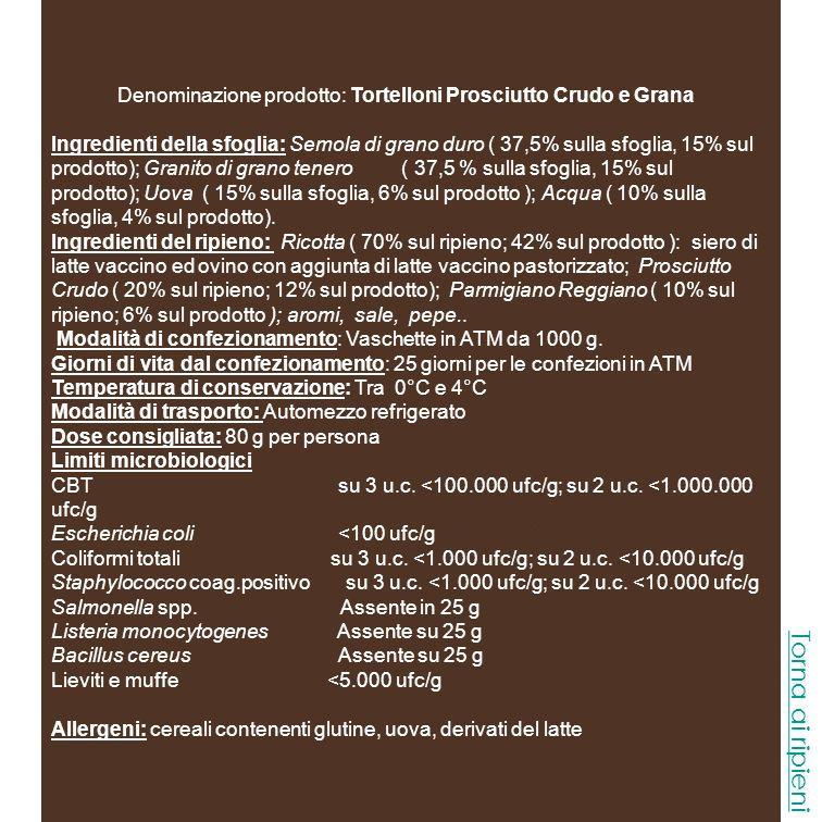 Denominazione prodotto: Tortelloni Radicchio e Speck Ingredienti della sfoglia: Semola di grano duro ( 37,5% sulla sfoglia, 15% sul prodotto); Granito di grano tenero ( 37,5 % sulla sfoglia, 15% sul prodotto); Uova ( 15% sulla sfoglia, 6% sul prodotto ); Acqua ( 10% sulla sfoglia, 4% sul prodotto).