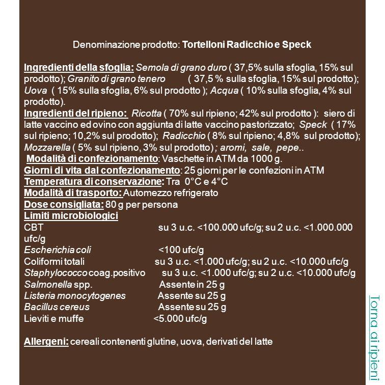 Denominazione prodotto: Tortelloni Stracchino e Salsiccia Ingredienti della sfoglia: Semola di grano duro ( 37,5% sulla sfoglia, 15% sul prodotto); Granito di grano tenero ( 37,5 % sulla sfoglia, 15% sul prodotto); Uova ( 15% sulla sfoglia, 6% sul prodotto ); Acqua ( 10% sulla sfoglia, 4% sul prodotto).