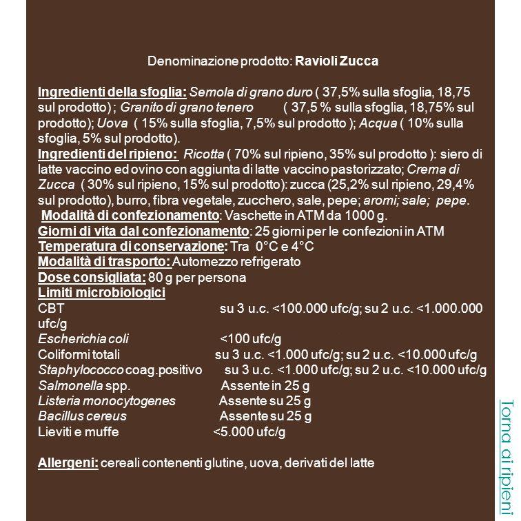 Denominazione prodotto: Ravioli Mozzarella Burrata Ingredienti della sfoglia: Semola di grano duro ( 37,5% sulla sfoglia, 18,75 sul prodotto) ; Granito di grano tenero ( 37,5 % sulla sfoglia, 18,75% sul prodotto); Uova ( 15% sulla sfoglia, 7,5% sul prodotto ); Acqua ( 10% sulla sfoglia, 5% sul prodotto).