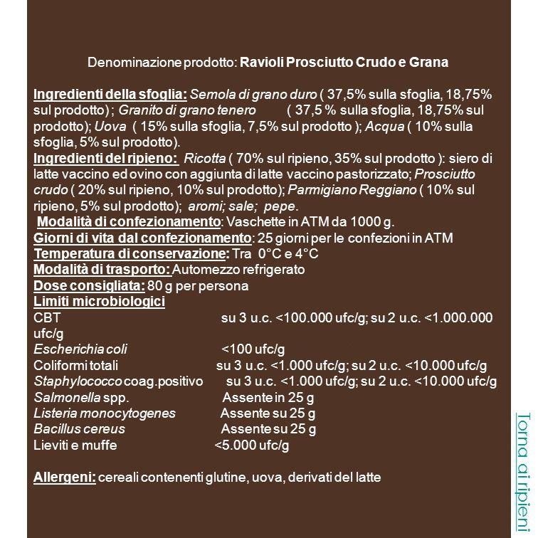 Denominazione prodotto: Ravioli Tartufo Ingredienti della sfoglia: Semola di grano duro ( 37,5% sulla sfoglia, 18,75 sul prodotto) ; Granito di grano tenero ( 37,5 % sulla sfoglia, 18,75% sul prodotto); Uova ( 15% sulla sfoglia, 7,5% sul prodotto ); acqua ( 10% sulla sfoglia, 5% sul prodotto).