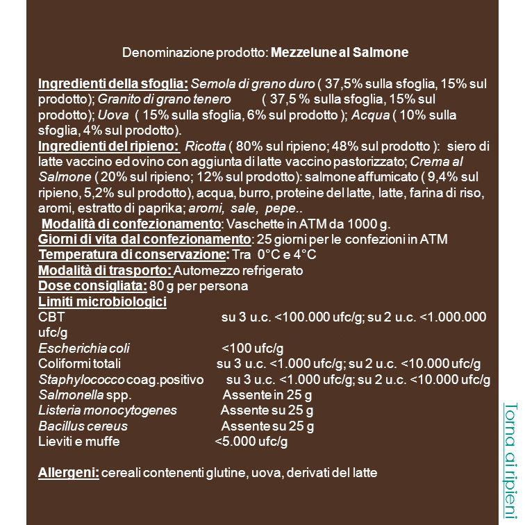 Denominazione prodotto: Mezzelune Gorgonzola e Noci Ingredienti della sfoglia: Semola di grano duro ( 37,5% sulla sfoglia, 15% sul prodotto); Granito di grano tenero ( 37,5 % sulla sfoglia, 15% sul prodotto); Uova ( 15% sulla sfoglia, 6% sul prodotto ); Acqua ( 10% sulla sfoglia, 4% sul prodotto).