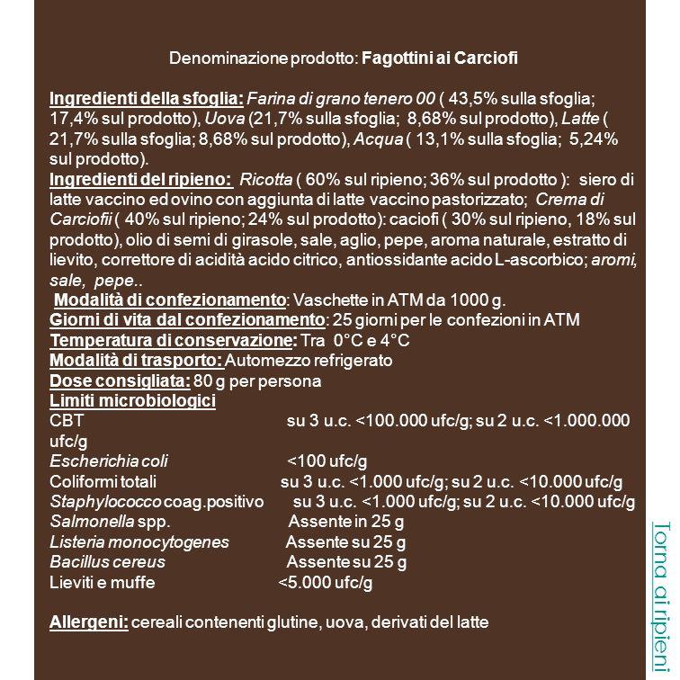Denominazione prodotto: Fagottini Asparagi Ingredienti della sfoglia: Farina di grano tenero 00 ( 43,5% sulla sfoglia; 17,4% sul prodotto), Uova (21,7% sulla sfoglia; 8,68% sul prodotto), Latte ( 21,7% sulla sfoglia; 8,68% sul prodotto), Acqua ( 13,1% sulla sfoglia; 5,24% sul prodotto).