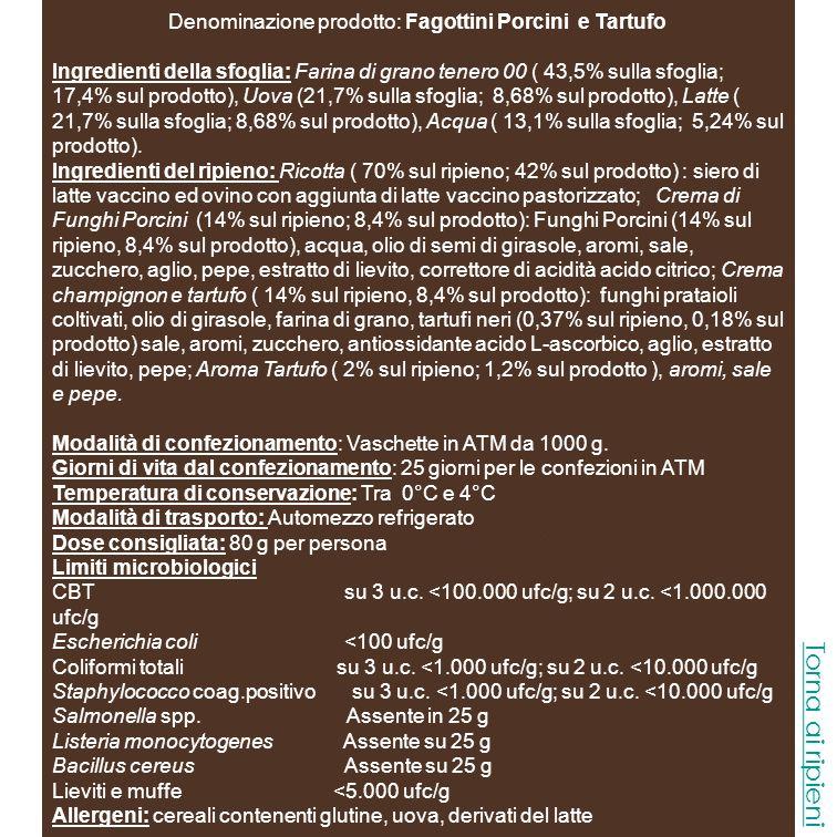 Denominazione prodotto: Fagottini ricotta e Spinaci Ingredienti della sfoglia: Farina di grano tenero 00 ( 43,5% sulla sfoglia; 17,4% sul prodotto), Uova (21,7% sulla sfoglia; 8,68% sul prodotto), Latte ( 21,7% sulla sfoglia; 8,68% sul prodotto), Acqua ( 13,1% sulla sfoglia; 5,24% sul prodotto).