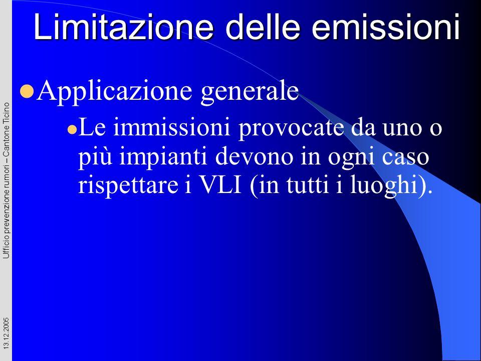 Ufficio prevenzione rumori – Cantone Ticino 13.12.2005 Applicazione generale Le immissioni provocate da uno o più impianti devono in ogni caso rispett