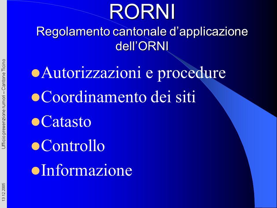Ufficio prevenzione rumori – Cantone Ticino 13.12.2005 RORNI Regolamento cantonale dapplicazione dellORNI Autorizzazioni e procedure Coordinamento dei