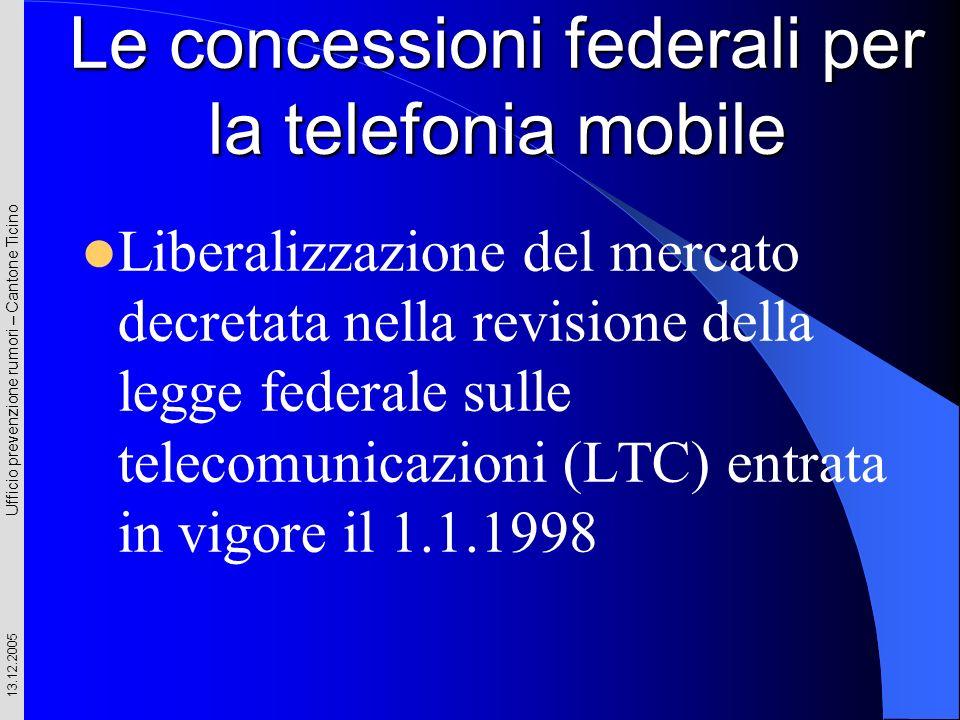 Ufficio prevenzione rumori – Cantone Ticino 13.12.2005 Le concessioni federali per la telefonia mobile Liberalizzazione del mercato decretata nella re