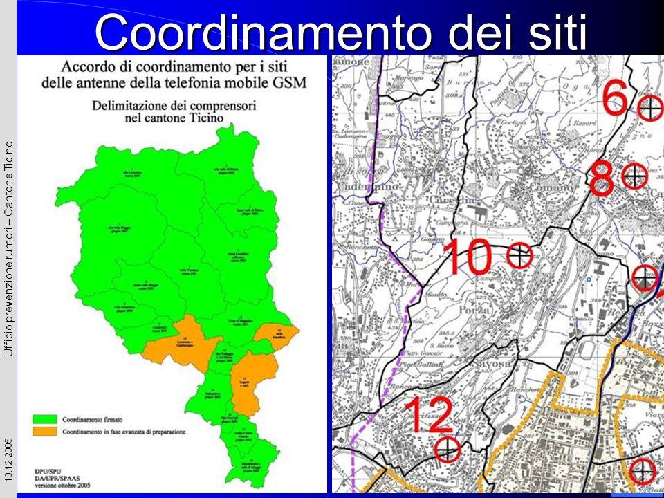 Ufficio prevenzione rumori – Cantone Ticino 13.12.2005 Coordinamento dei siti
