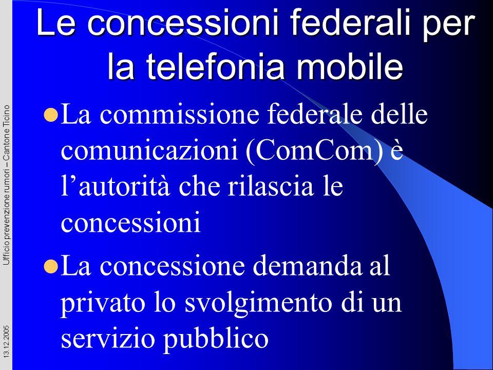 Ufficio prevenzione rumori – Cantone Ticino 13.12.2005 La commissione federale delle comunicazioni (ComCom) è lautorità che rilascia le concessioni La