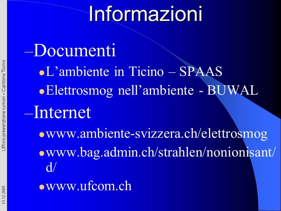 Ufficio prevenzione rumori – Cantone Ticino 13.12.2005 Informazioni – Documenti Lambiente in Ticino – SPAAS Elettrosmog nellambiente - BUWAL – Interne