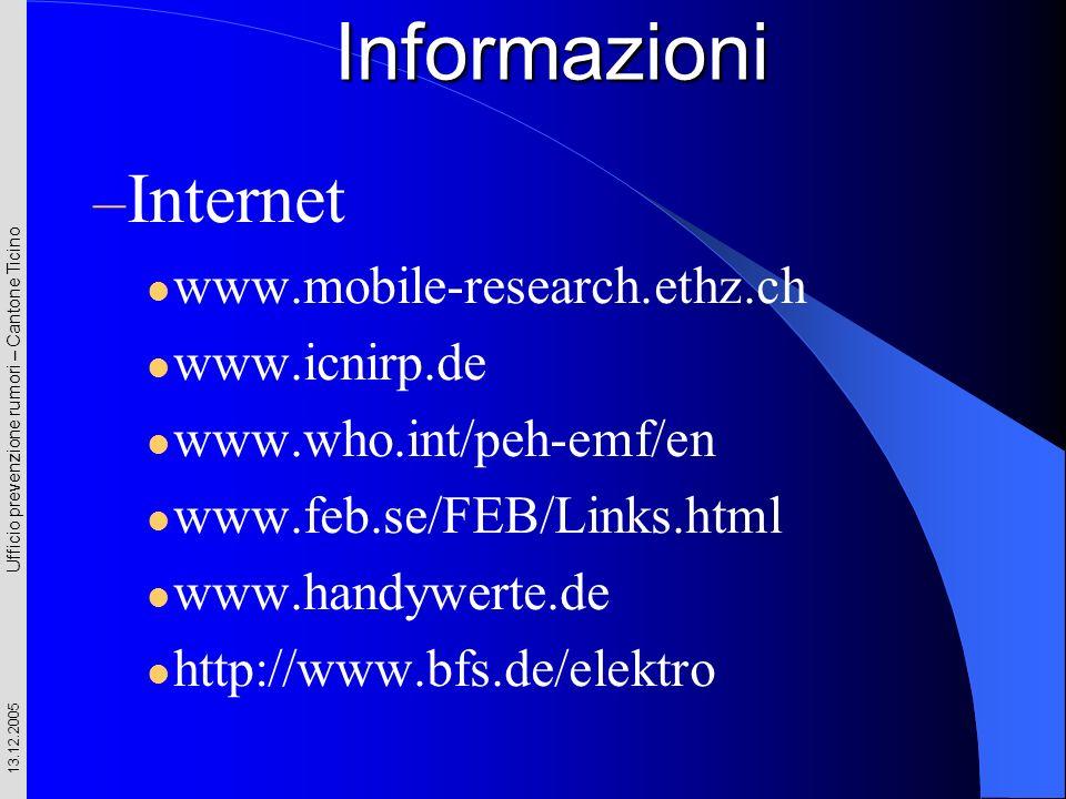 Ufficio prevenzione rumori – Cantone Ticino 13.12.2005 – Internet www.mobile-research.ethz.ch www.icnirp.de www.who.int/peh-emf/en www.feb.se/FEB/Link
