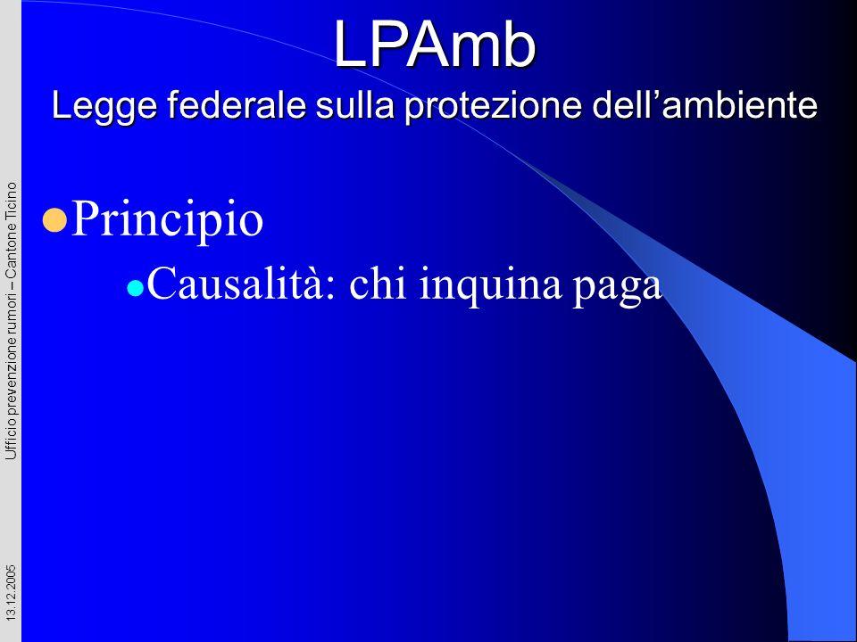 Ufficio prevenzione rumori – Cantone Ticino 13.12.2005 Principio Causalità: chi inquina paga LPAmb Legge federale sulla protezione dellambiente