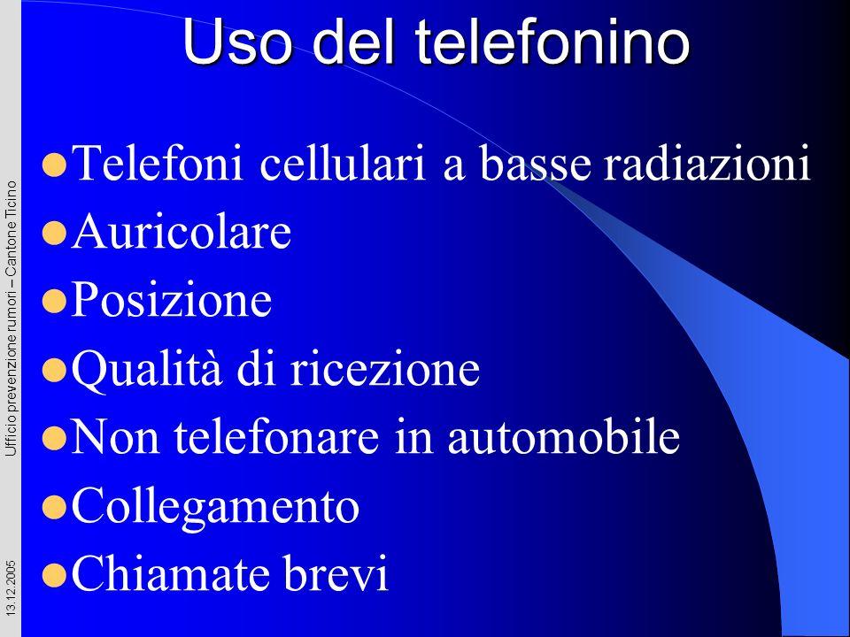 Ufficio prevenzione rumori – Cantone Ticino 13.12.2005 Uso del telefonino Telefoni cellulari a basse radiazioni Auricolare Posizione Qualità di ricezi