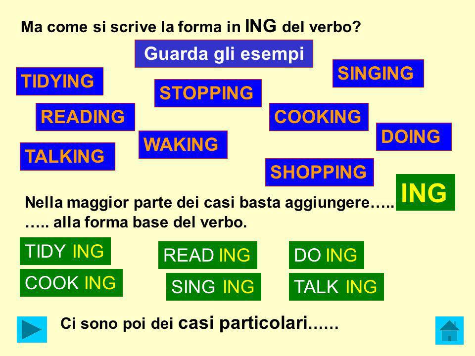 TIDYING TALKING WAKING SHOPPING SINGING DOING STOPPING READINGCOOKING Ma come si scrive la forma in ING del verbo? Guarda gli esempi Nella maggior par