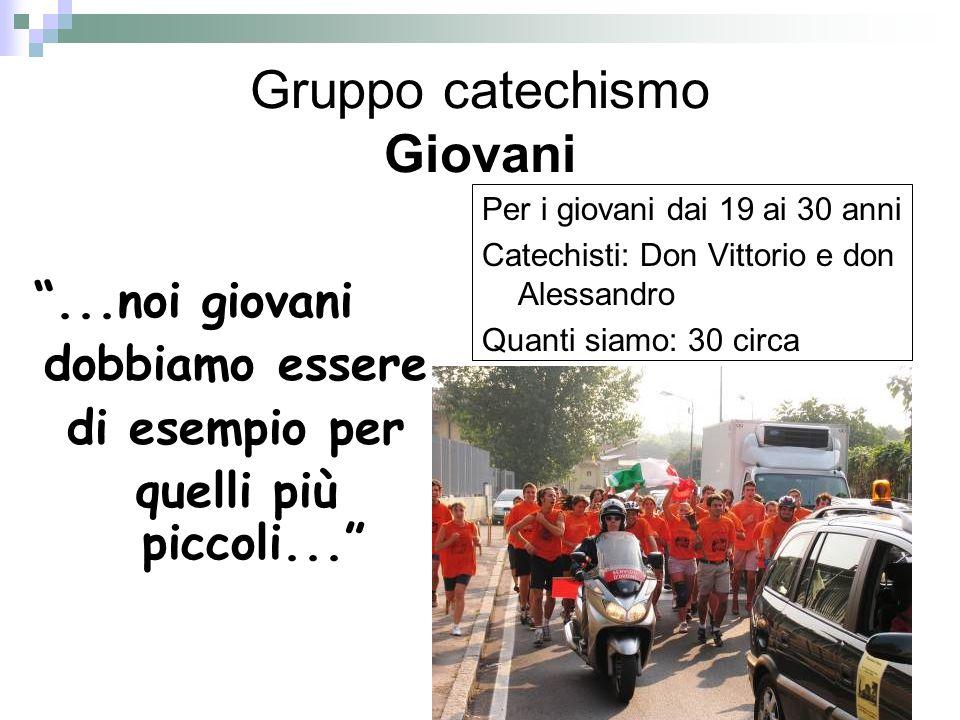 Gruppo catechismo Giovani...noi giovani dobbiamo essere di esempio per quelli più piccoli... Per i giovani dai 19 ai 30 anni Catechisti: Don Vittorio