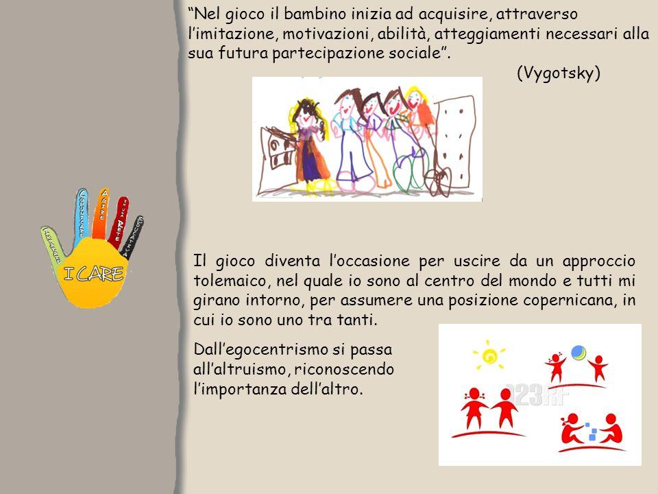 Nel gioco il bambino inizia ad acquisire, attraverso limitazione, motivazioni, abilità, atteggiamenti necessari alla sua futura partecipazione sociale