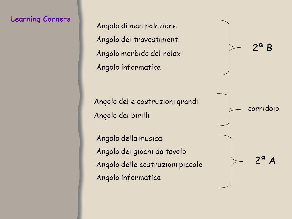 Learning Corners Angolo di manipolazione Angolo dei travestimenti Angolo morbido del relax Angolo informatica Angolo delle costruzioni grandi 2ª B Ang