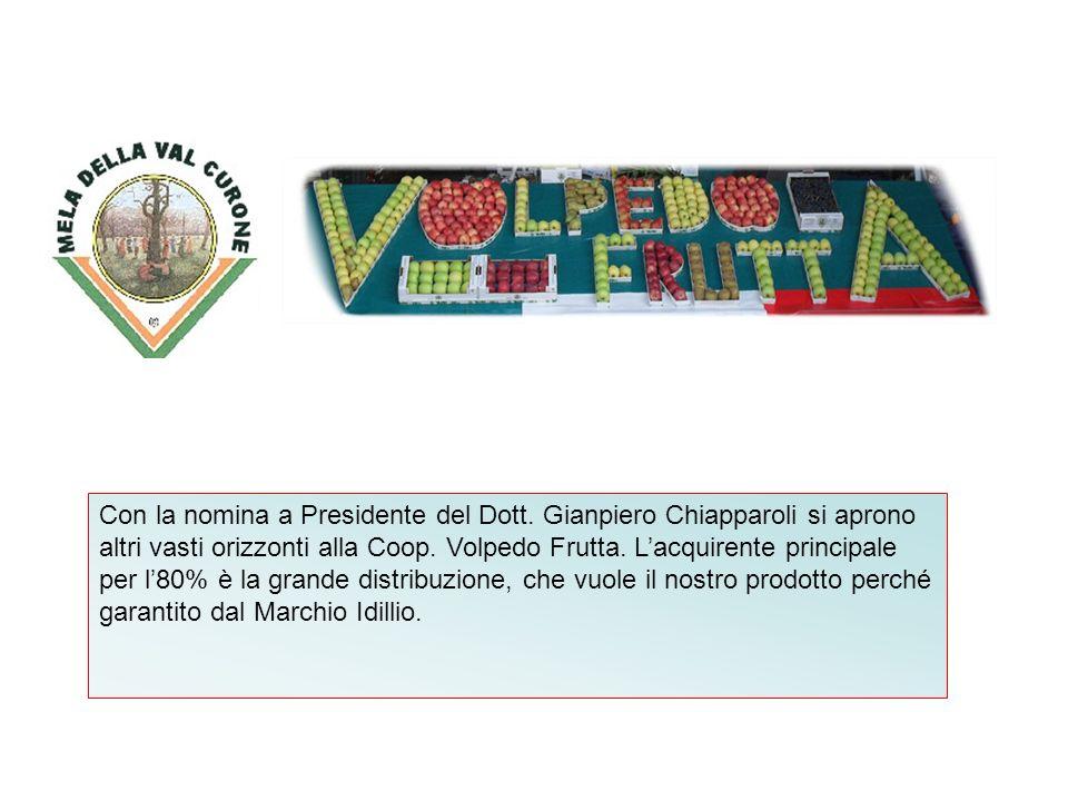 Con la nomina a Presidente del Dott. Gianpiero Chiapparoli si aprono altri vasti orizzonti alla Coop. Volpedo Frutta. Lacquirente principale per l80%