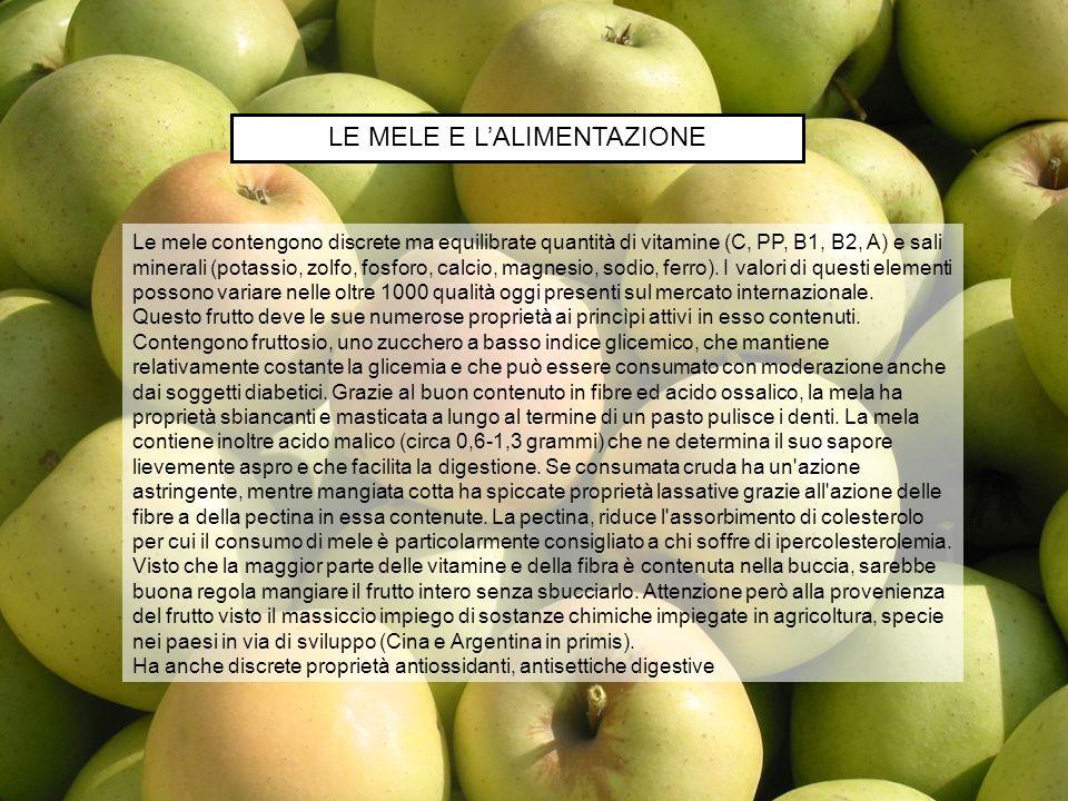 Le mele contengono discrete ma equilibrate quantità di vitamine (C, PP, B1, B2, A) e sali minerali (potassio, zolfo, fosforo, calcio, magnesio, sodio,