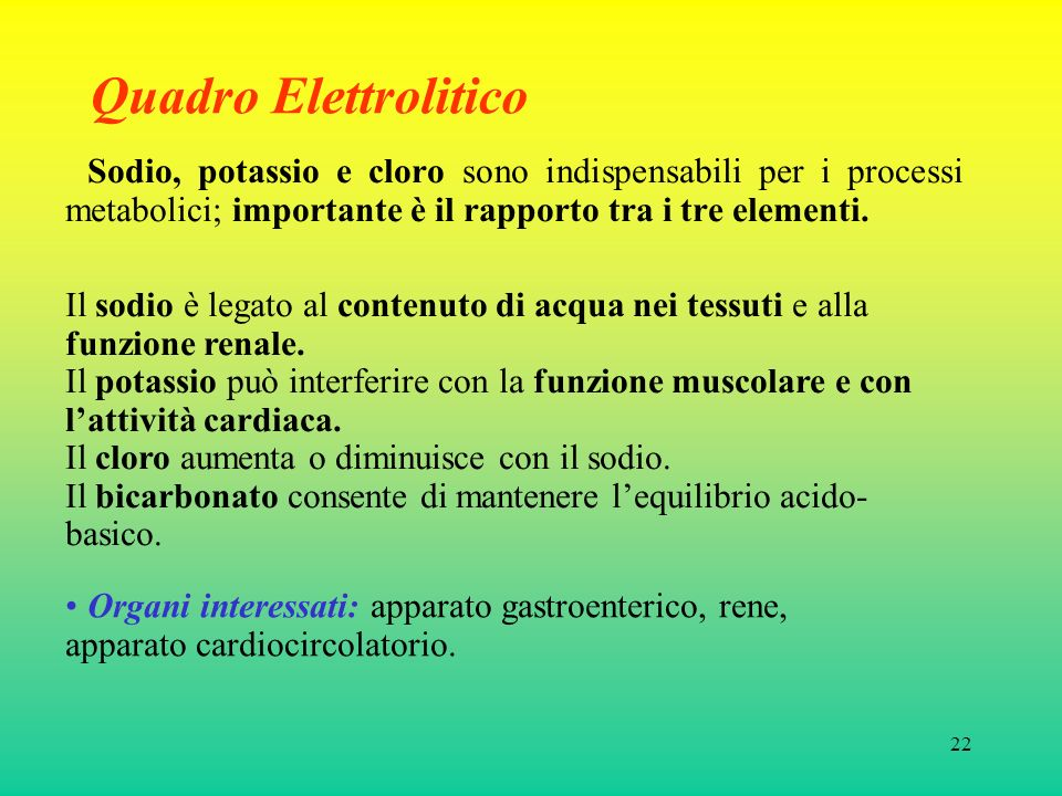 22 Quadro Elettrolitico Sodio, potassio e cloro sono indispensabili per i processi metabolici; importante è il rapporto tra i tre elementi. Il sodio è