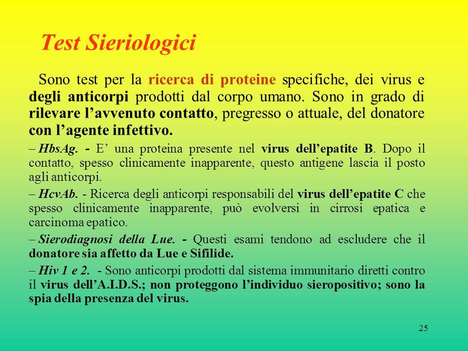 25 Test Sieriologici Sono test per la ricerca di proteine specifiche, dei virus e degli anticorpi prodotti dal corpo umano.