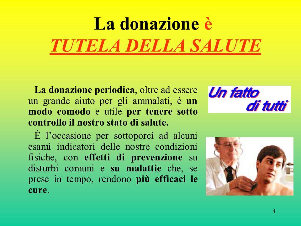 4 La donazione è TUTELA DELLA SALUTE La donazione periodica, oltre ad essere un grande aiuto per gli ammalati, è un modo comodo e utile per tenere sot