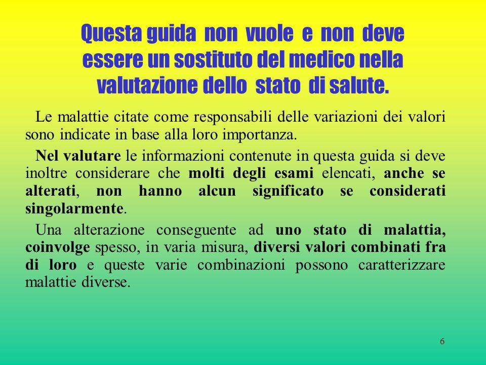 6 Questa guida non vuole e non deve essere un sostituto del medico nella valutazione dello stato di salute.