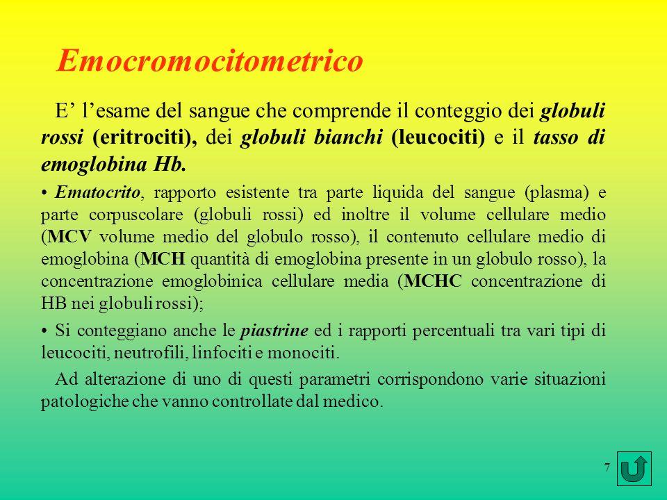 7 Emocromocitometrico E lesame del sangue che comprende il conteggio dei globuli rossi (eritrociti), dei globuli bianchi (leucociti) e il tasso di emoglobina Hb.