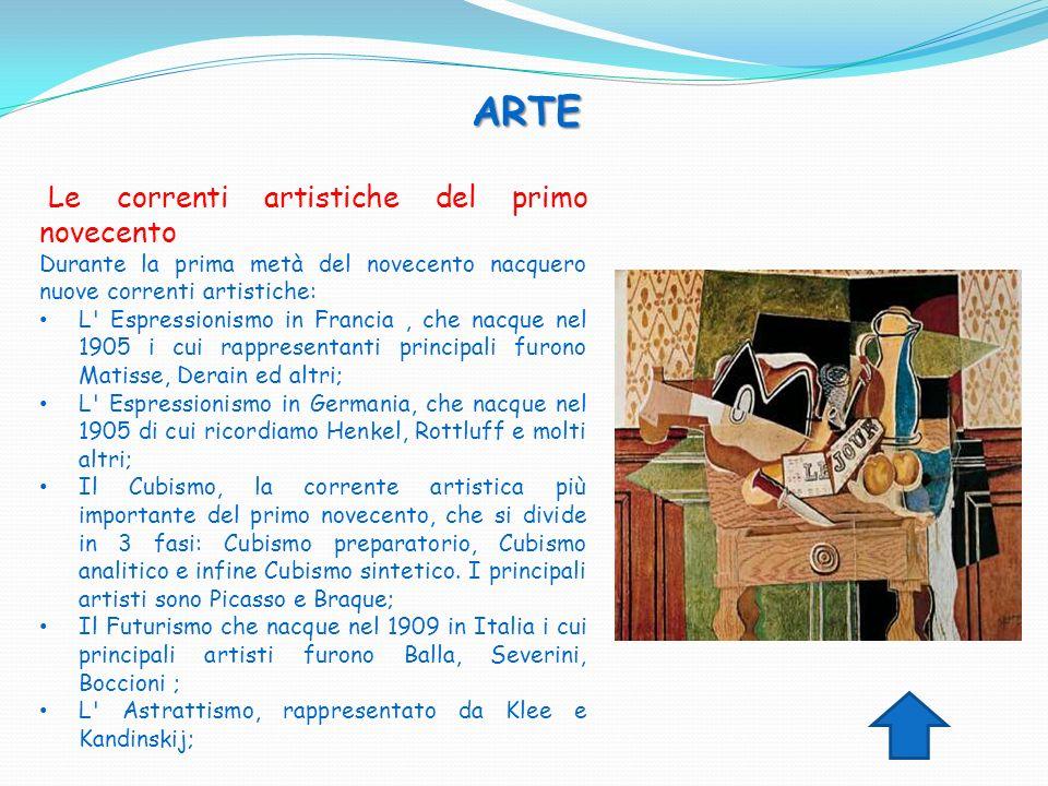 ARTE ARTE Le correnti artistiche del primo novecento Durante la prima metà del novecento nacquero nuove correnti artistiche: L' Espressionismo in Fran