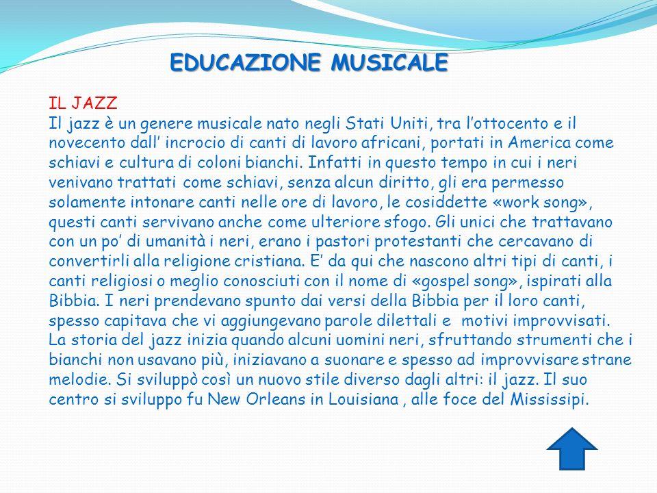 EDUCAZIONE MUSICALE IL JAZZ Il jazz è un genere musicale nato negli Stati Uniti, tra lottocento e il novecento dall incrocio di canti di lavoro africa