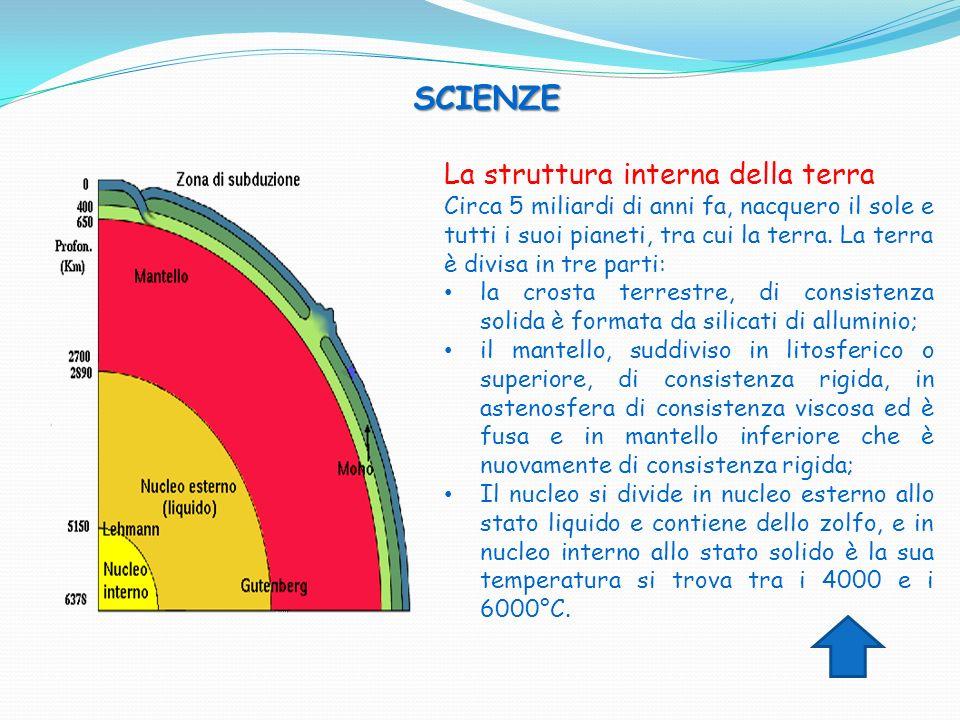 SCIENZE SCIENZE La struttura interna della terra Circa 5 miliardi di anni fa, nacquero il sole e tutti i suoi pianeti, tra cui la terra. La terra è di