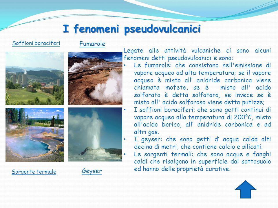 Legate alle attività vulcaniche ci sono alcuni fenomeni detti pseudovulcanici e sono: Le fumarole: che consistono nell'emissione di vapore acqueo ad a