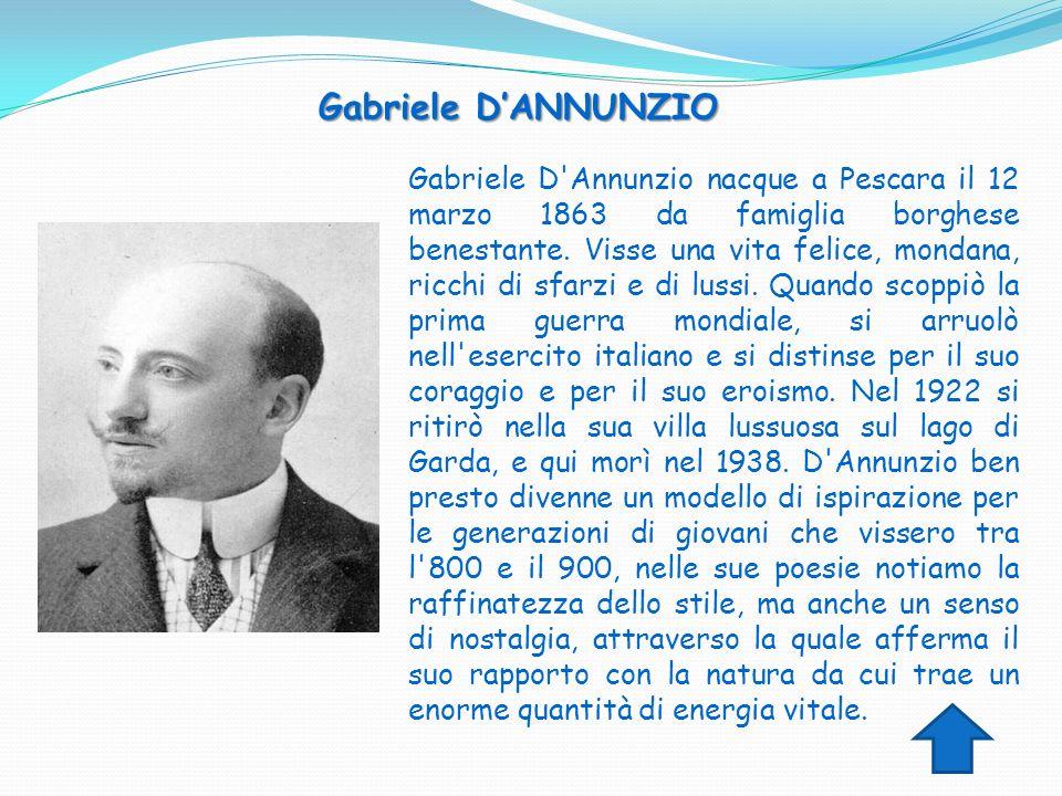 Gabriele D'Annunzio nacque a Pescara il 12 marzo 1863 da famiglia borghese benestante. Visse una vita felice, mondana, ricchi di sfarzi e di lussi. Qu