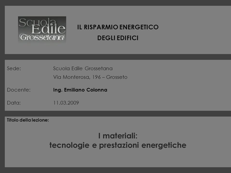 IL RISPARMIO ENERGETICO DEGLI EDIFICI Sede:Scuola Edile Grossetana Via Monterosa, 196 – Grosseto Docente: Ing. Emiliano Colonna Data:11.03.2009 Titolo