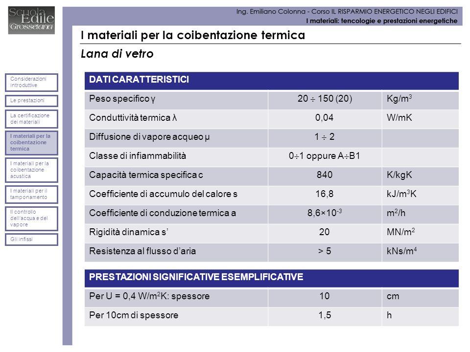 I materiali per la coibentazione termica Lana di vetro DATI CARATTERISTICI Peso specifico γ 20 150 (20) Kg/m 3 Conduttività termica λ0,04W/mK Diffusio
