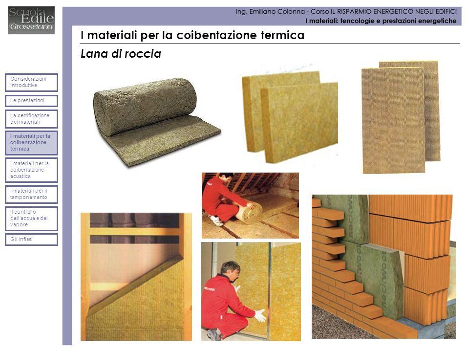 I materiali per la coibentazione termica Lana di roccia Le prestazioni Considerazioni introduttive La certificazione dei materiali I materiali per la