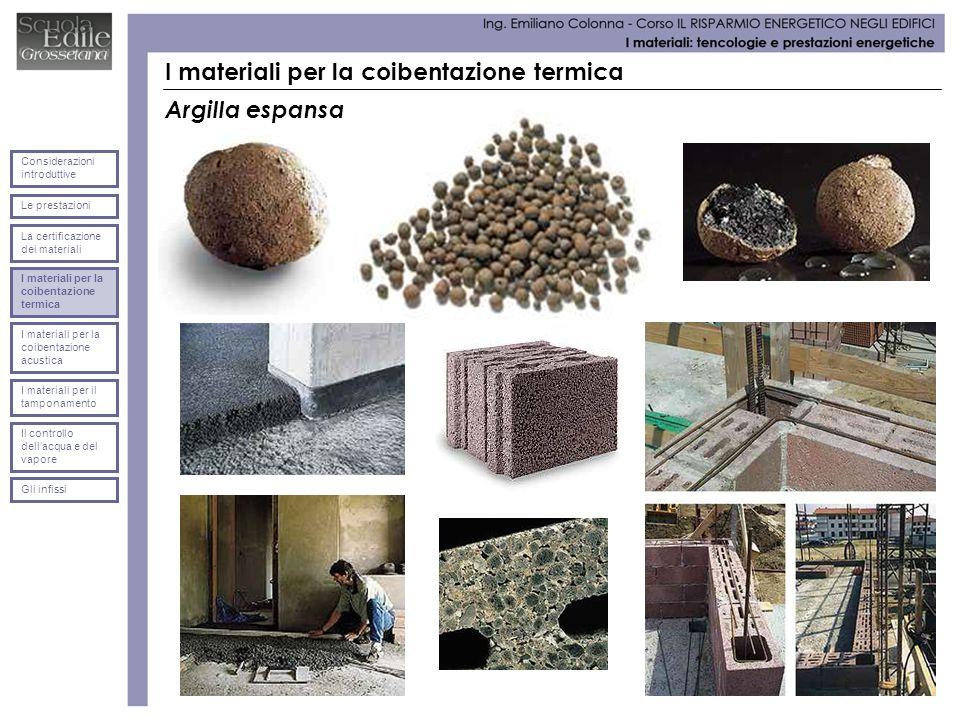 I materiali per la coibentazione termica Argilla espansa Le prestazioni Considerazioni introduttive La certificazione dei materiali I materiali per la