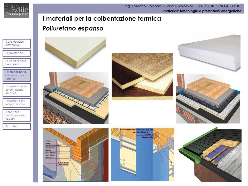 I materiali per la coibentazione termica Poliuretano espanso Le prestazioni Considerazioni introduttive La certificazione dei materiali I materiali pe