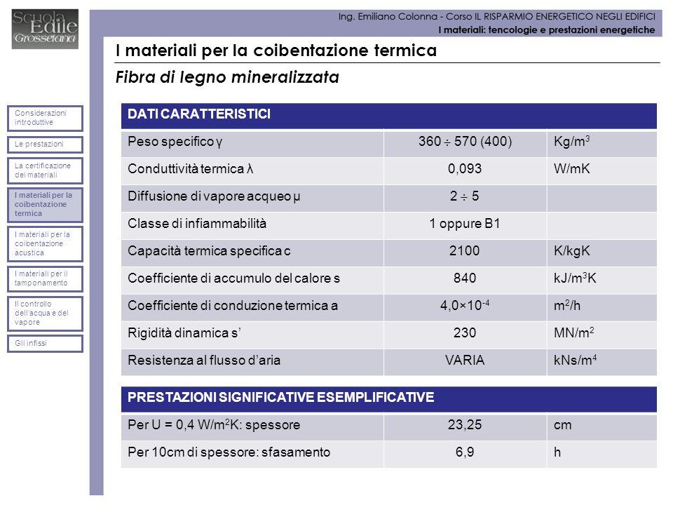 I materiali per la coibentazione termica Fibra di legno mineralizzata DATI CARATTERISTICI Peso specifico γ 360 570 (400) Kg/m 3 Conduttività termica λ