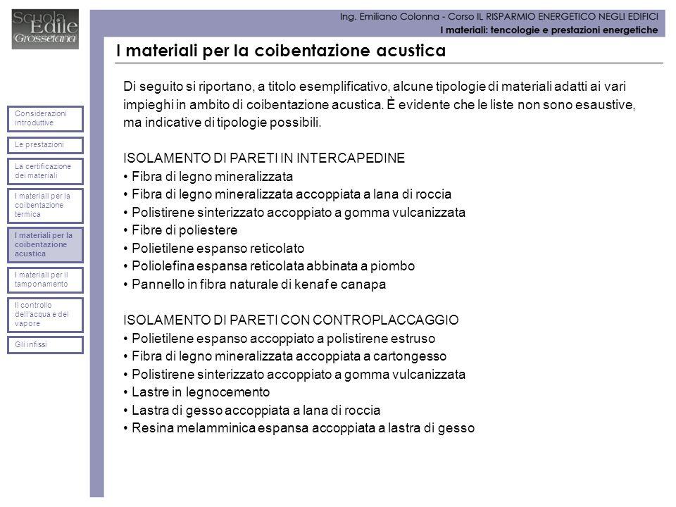 I materiali per la coibentazione acustica Di seguito si riportano, a titolo esemplificativo, alcune tipologie di materiali adatti ai vari impieghi in