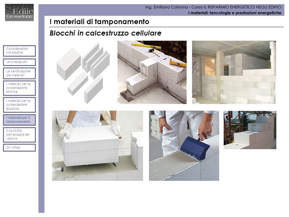 I materiali di tamponamento Blocchi in calcestruzzo cellulare Le prestazioni Considerazioni introduttive La certificazione dei materiali I materiali p