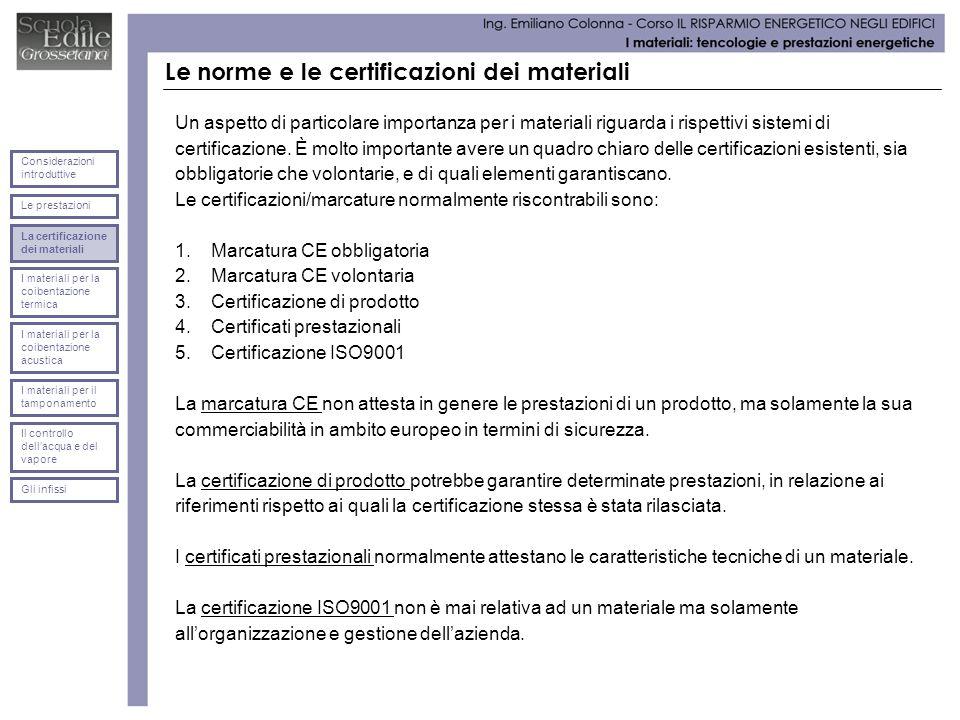 Le norme e le certificazioni dei materiali Un aspetto di particolare importanza per i materiali riguarda i rispettivi sistemi di certificazione. È mol