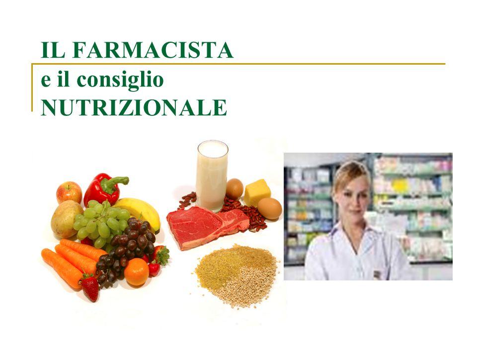 In ambito nutrizionale il farmacista può dare consigli su: 1) CONCETTO DI SANA ALIMENTAZIONE 2) INTEGRATORI ALIMENTARI 3) INTERAZIONI FARMACO-ALIMENTO 4) Consigli su ALIMENTAZIONE in CONDIZIONI FISIOLOGICHE E PATOLOGICHE particolari