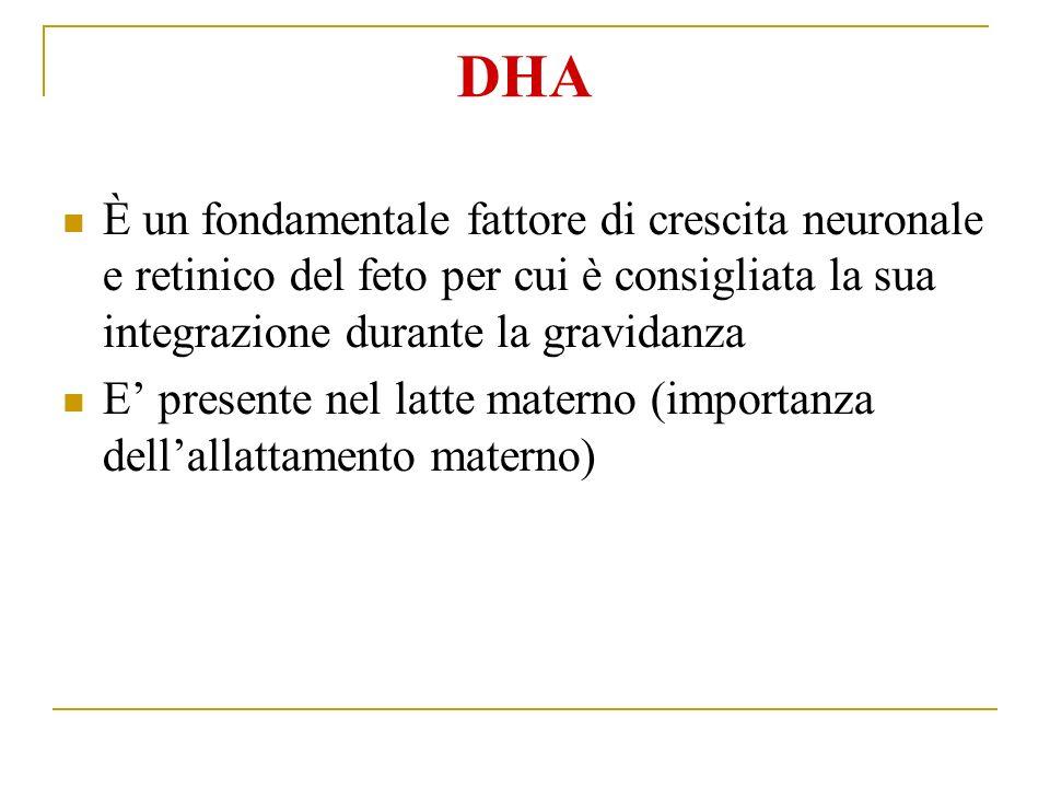 DHA È un fondamentale fattore di crescita neuronale e retinico del feto per cui è consigliata la sua integrazione durante la gravidanza E presente nel latte materno (importanza dellallattamento materno)