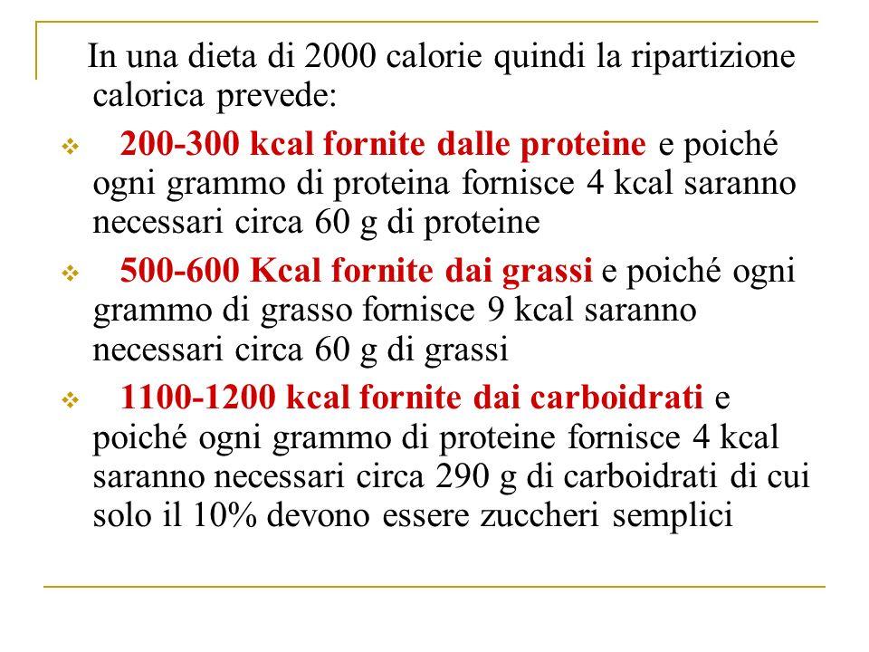 In una dieta di 2000 calorie quindi la ripartizione calorica prevede: 200-300 kcal fornite dalle proteine e poiché ogni grammo di proteina fornisce 4 kcal saranno necessari circa 60 g di proteine 500-600 Kcal fornite dai grassi e poiché ogni grammo di grasso fornisce 9 kcal saranno necessari circa 60 g di grassi 1100-1200 kcal fornite dai carboidrati e poiché ogni grammo di proteine fornisce 4 kcal saranno necessari circa 290 g di carboidrati di cui solo il 10% devono essere zuccheri semplici