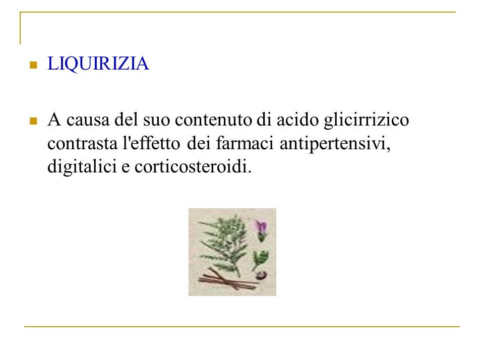 LIQUIRIZIA A causa del suo contenuto di acido glicirrizico contrasta l effetto dei farmaci antipertensivi, digitalici e corticosteroidi.