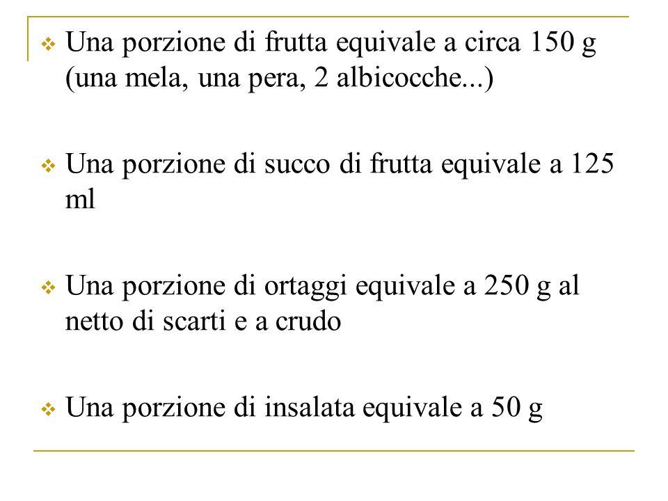 Una porzione di frutta equivale a circa 150 g (una mela, una pera, 2 albicocche...) Una porzione di succo di frutta equivale a 125 ml Una porzione di ortaggi equivale a 250 g al netto di scarti e a crudo Una porzione di insalata equivale a 50 g