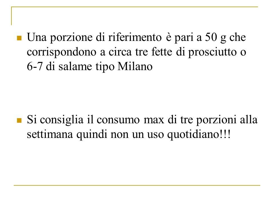 Una porzione di riferimento è pari a 50 g che corrispondono a circa tre fette di prosciutto o 6-7 di salame tipo Milano Si consiglia il consumo max di tre porzioni alla settimana quindi non un uso quotidiano!!!