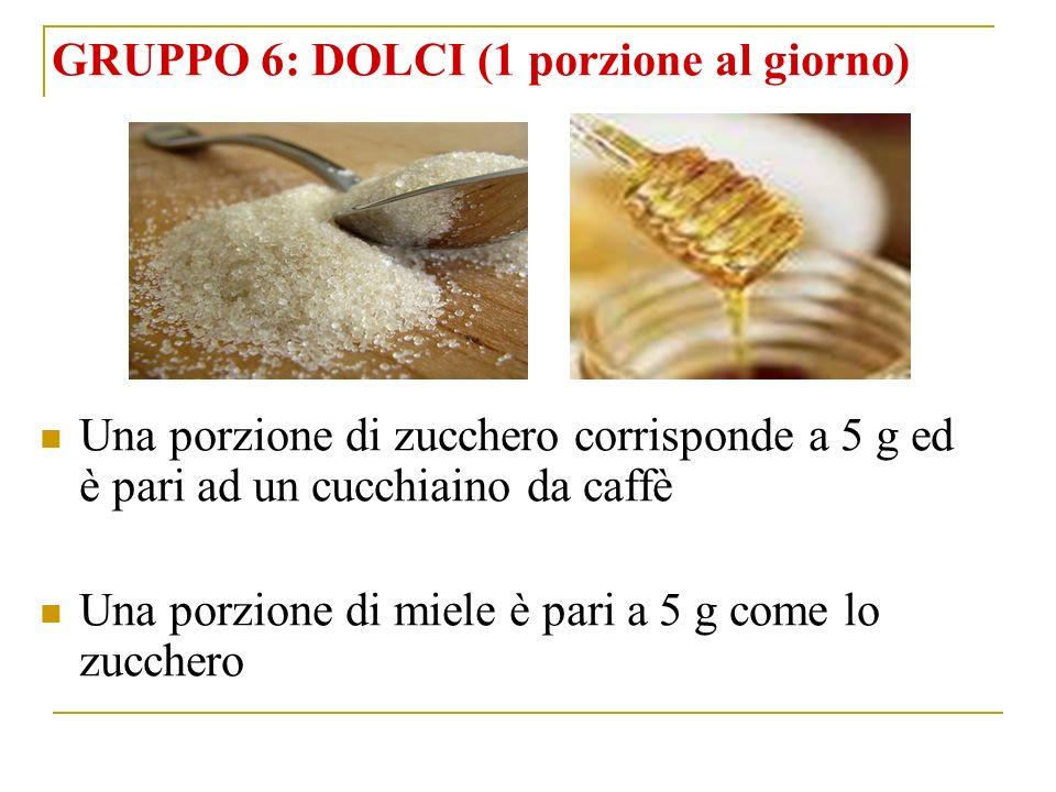 GRUPPO 6: DOLCI (1 porzione al giorno) Una porzione di zucchero corrisponde a 5 g ed è pari ad un cucchiaino da caffè Una porzione di miele è pari a 5 g come lo zucchero