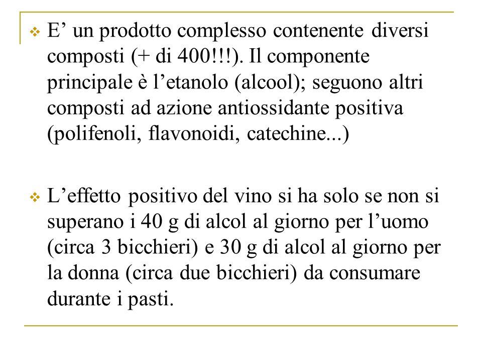 E un prodotto complesso contenente diversi composti (+ di 400!!!).