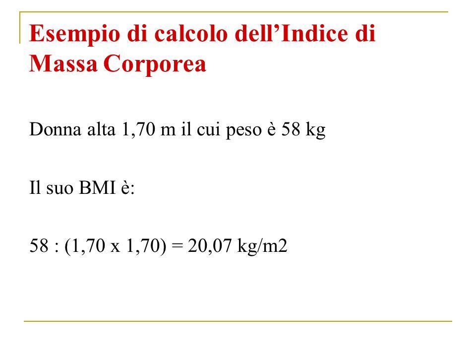 Esempio di calcolo dellIndice di Massa Corporea Donna alta 1,70 m il cui peso è 58 kg Il suo BMI è: 58 : (1,70 x 1,70) = 20,07 kg/m2